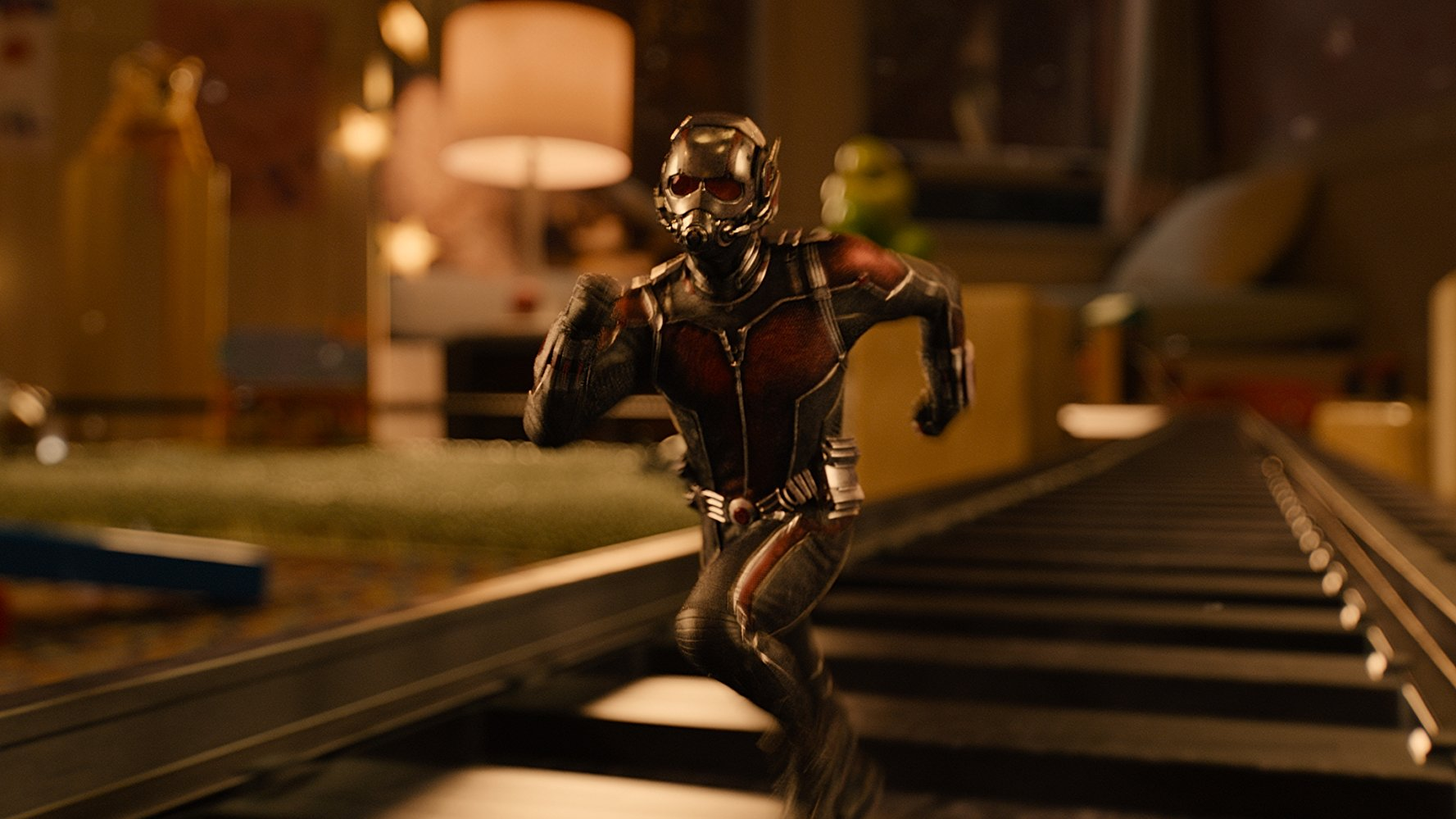 Ant-man running on a train track