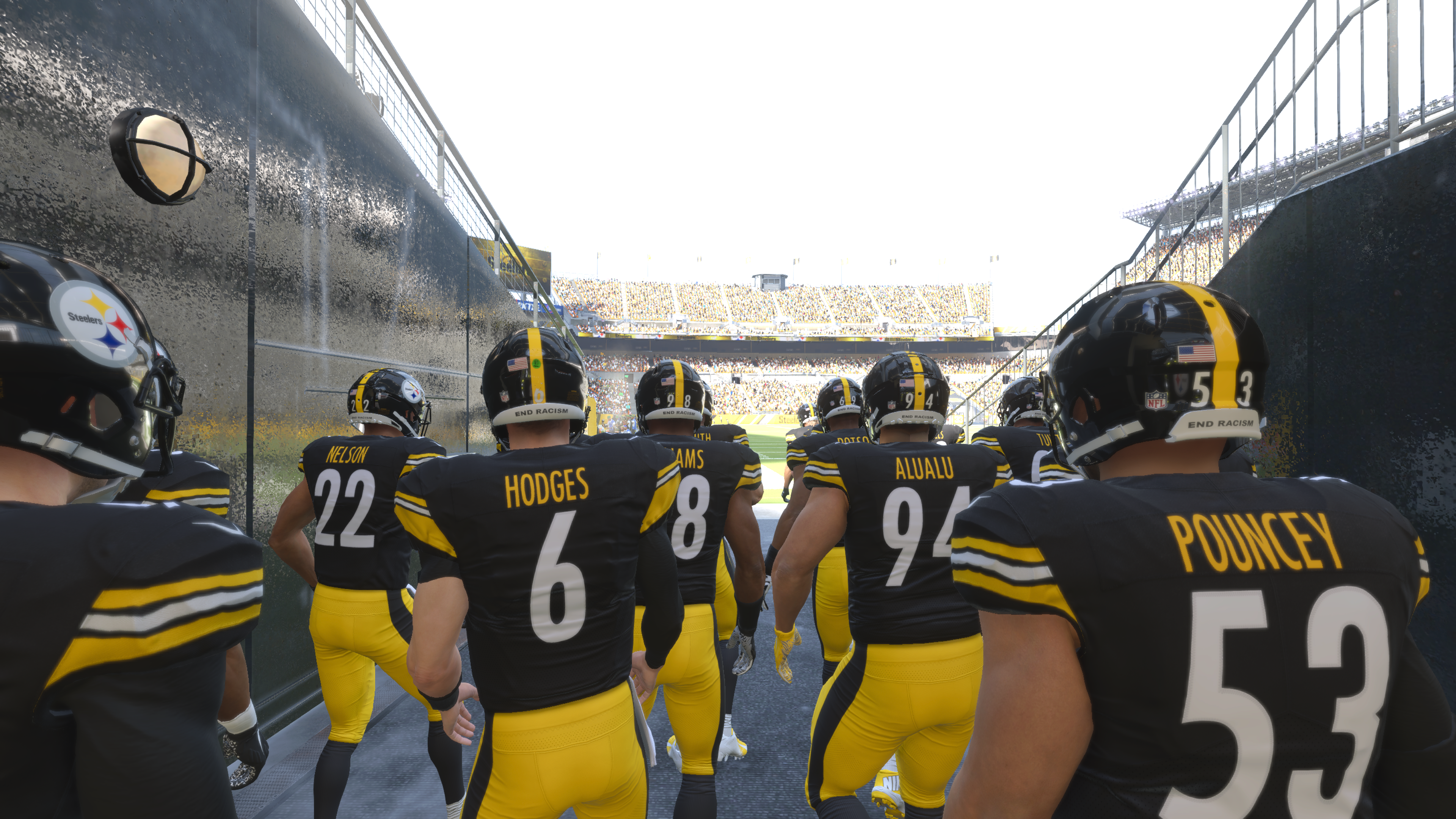 The Steelers coming out of the tunnel in Madden 21