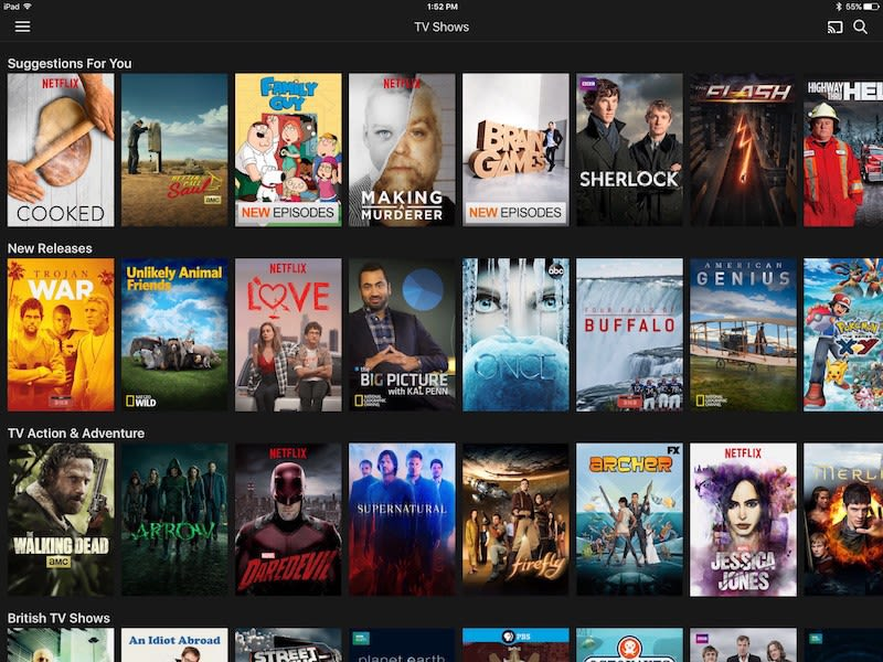Netflix app—iOS