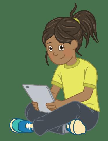 Illustration of Tillie sat cross-legged