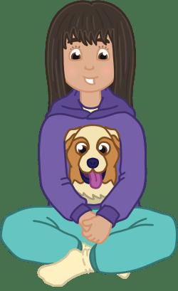 Illustration of Amena sitting cross-legged