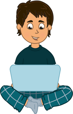 Illustration of Dovydas sitting and using a laptop