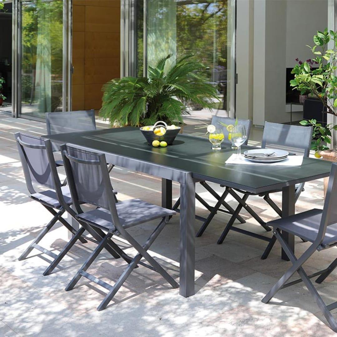 Table Elise 6/6 grise + 6 chaises/fauteuils