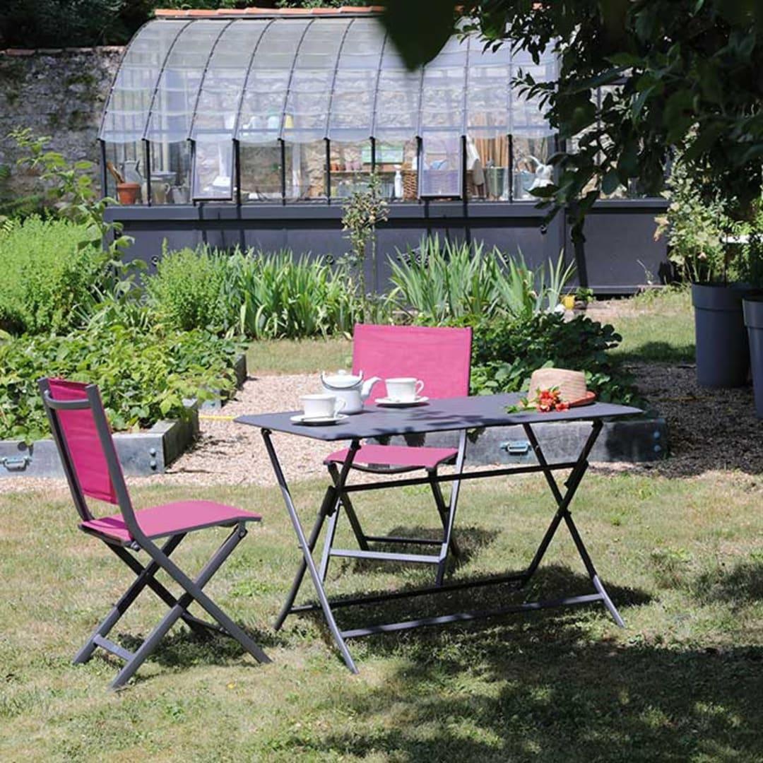 Ensemble de jardin table Lorita grise et chaises Théma framboise - 4 ...