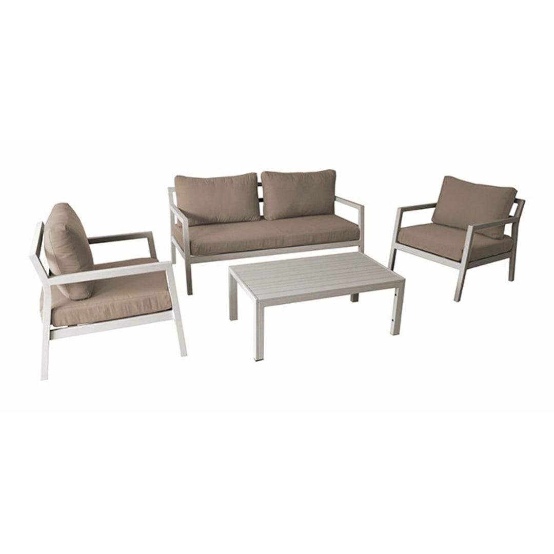 Ensemble détente Nebraska (canapé + fauteuils + table basse) - Taupe