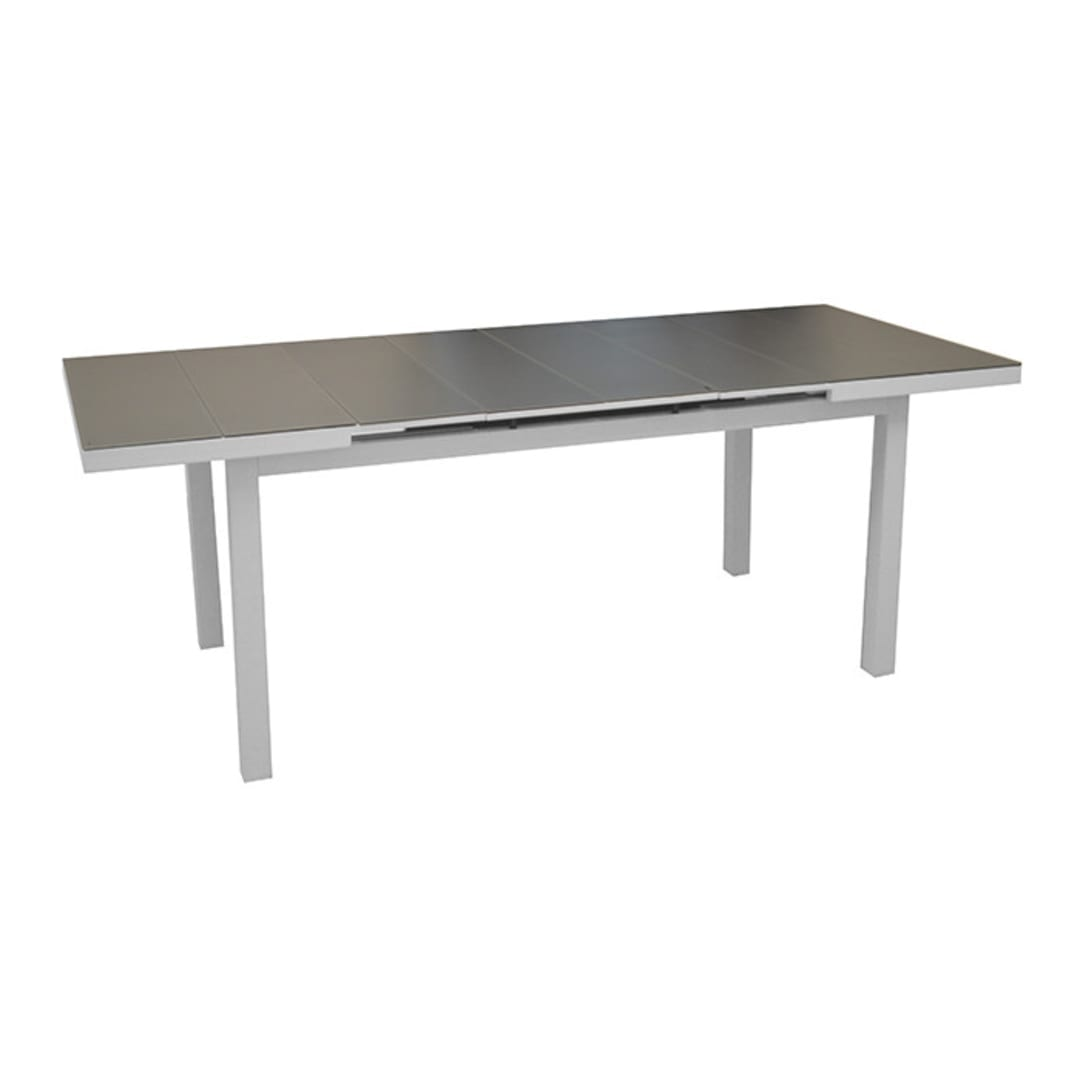 Table Ondine 160/213 + 6 chaises Théma blanc/taupe