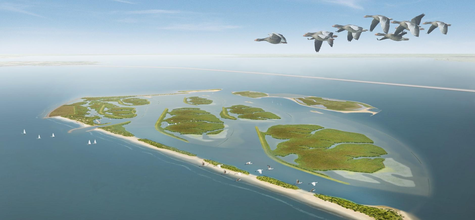 Impressie vogelvlucht Marker Wadden met nieuwe eilanden