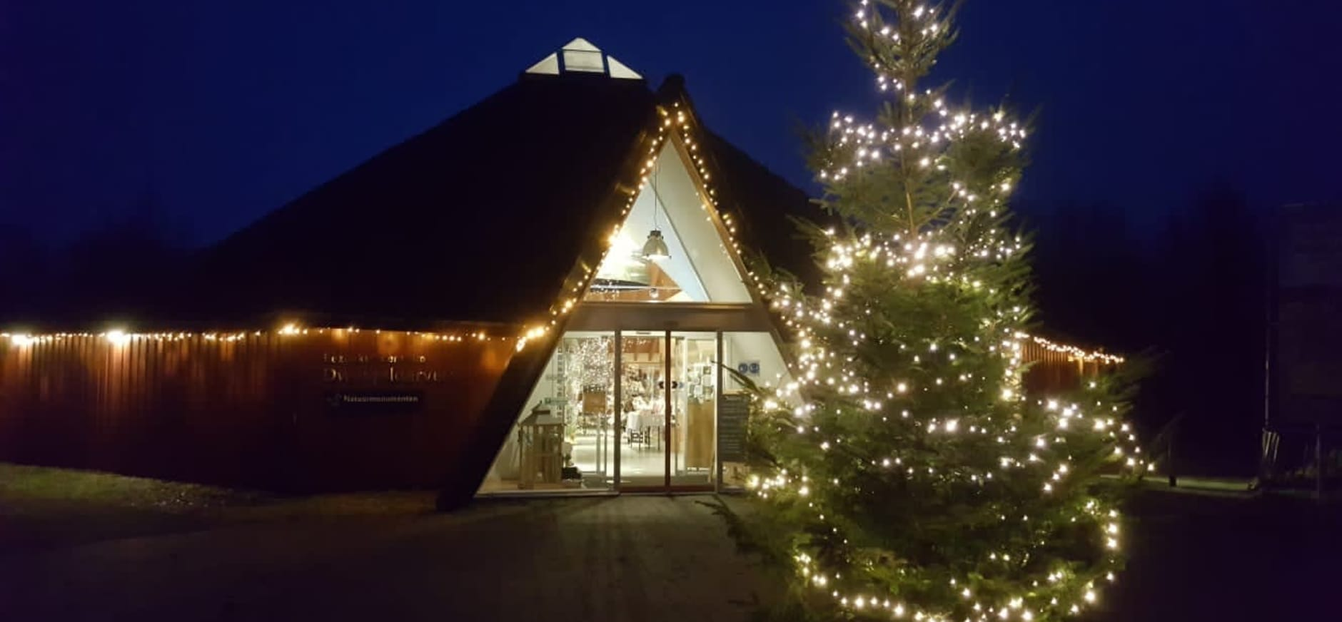 bezoekerscentrum in kerstsfeer
