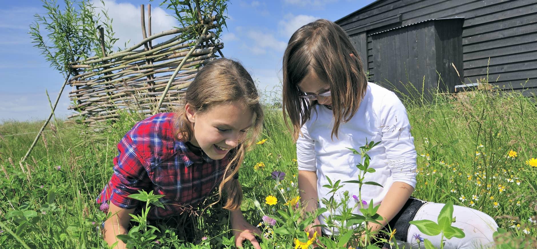 Kinderen in wilde bloementuin bij Melkschuur Zuidpolder