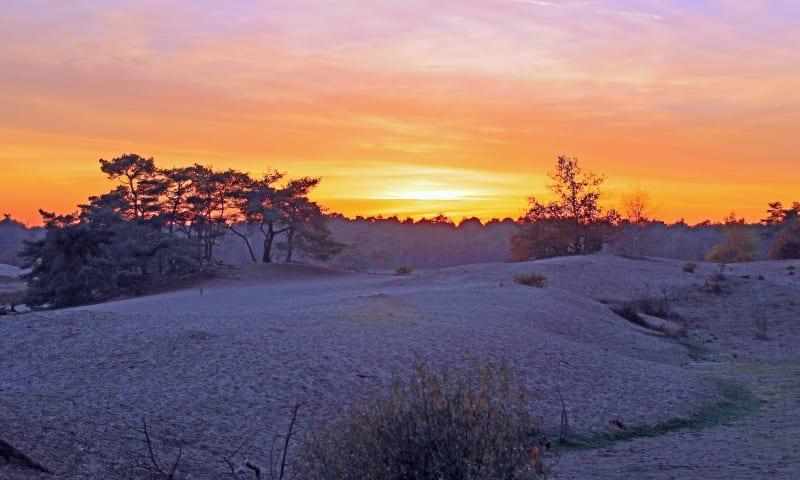 Zonsondergang in winters stuifzandgebied
