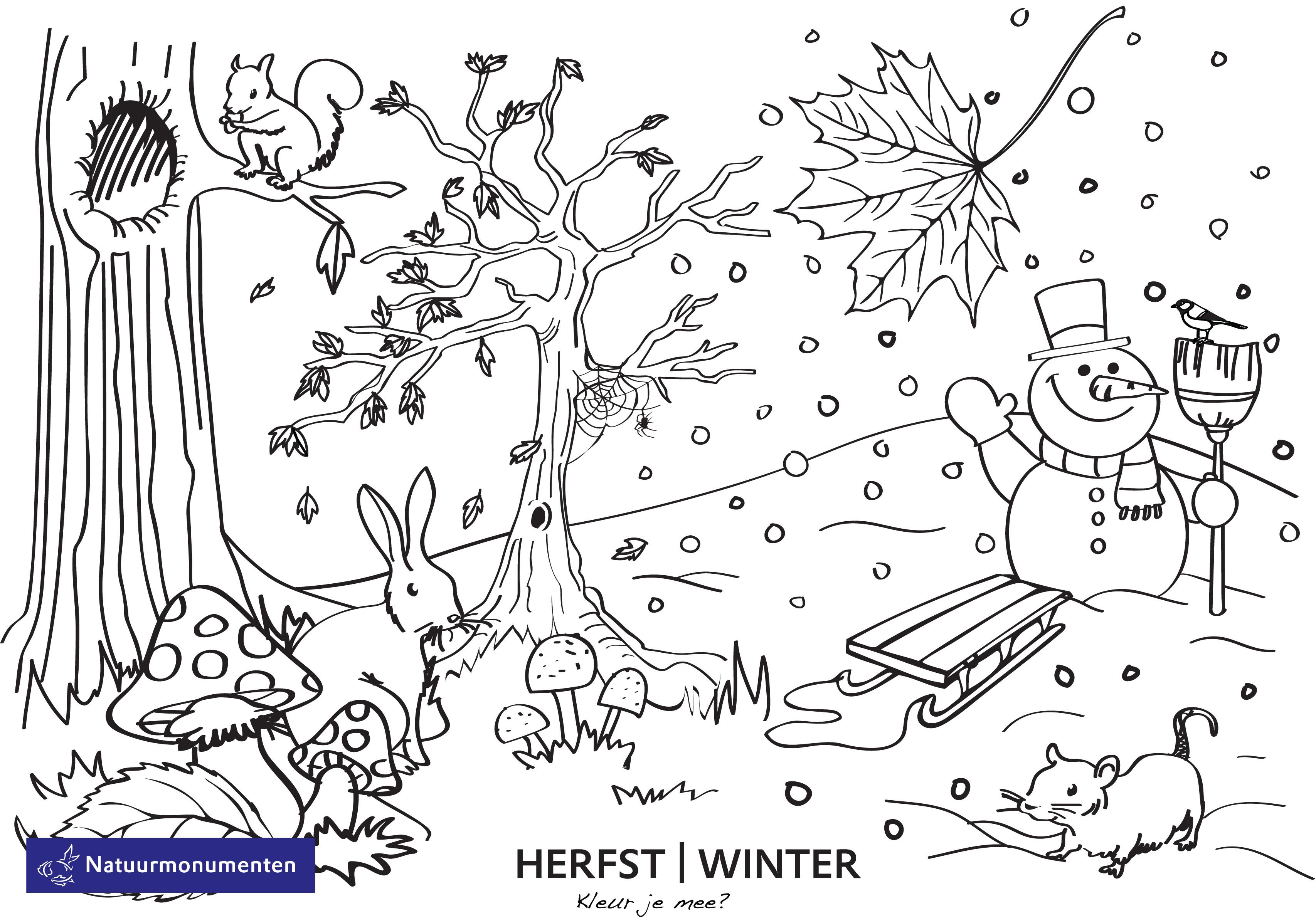 Kleurplaten Rond Winter.Kleurplaten Herfst Winter Brekelmansadviesgroep