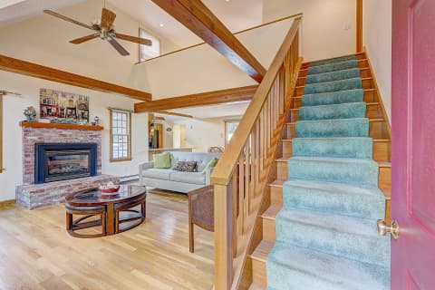 Living Room Fireplace Stair to Loft