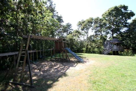 Back Yard With Tree House and Swing Set