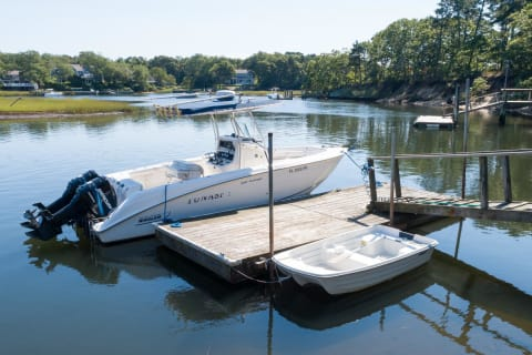 Presently a  Boston Whaler is Docked