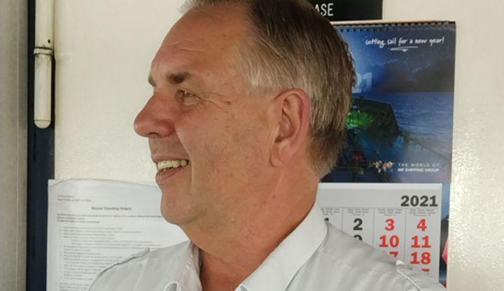Image:Captain Constant Herfst, chair of the Koninklijk College Zeemanshoop and serving master onboard tanker MT Thun Gratitude.