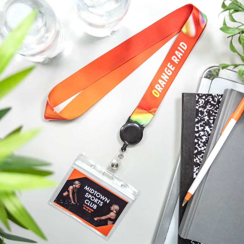 ID Badge Reel Full Color Lanyards With Badge Holder