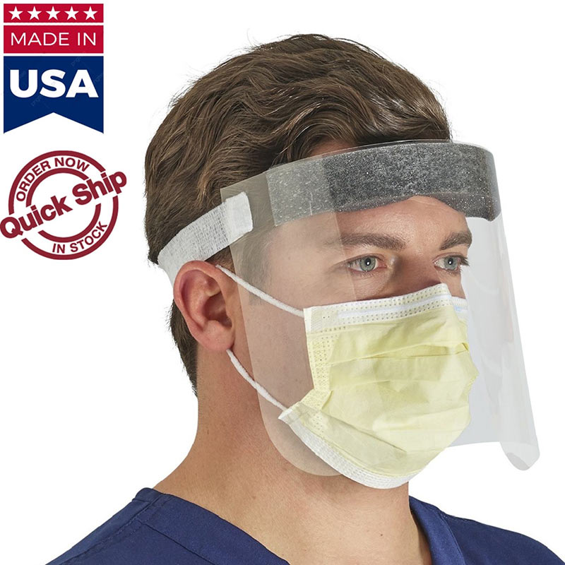 USA Made Safety Face Shields With Forehead Pad