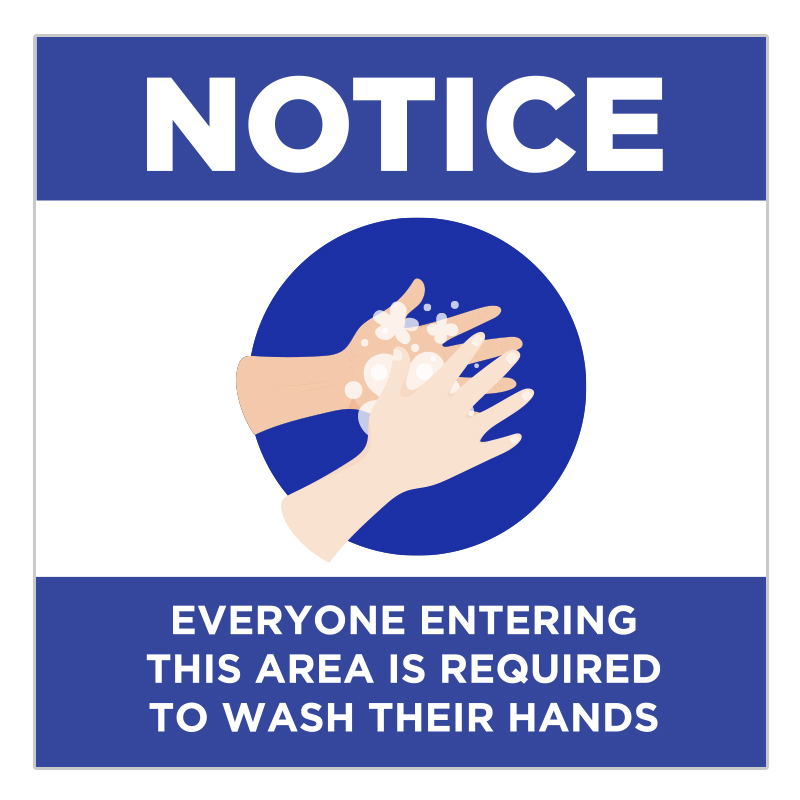 Wash Your Hands Requirement Notice Stickers