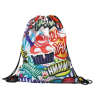 Black Drawstring Bag with Full Imprint Color