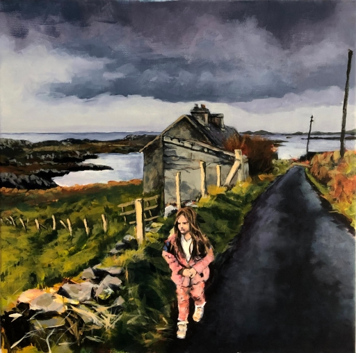 Painting of my daughter arriving on the Island of Inishbofin in the West of Ireland
