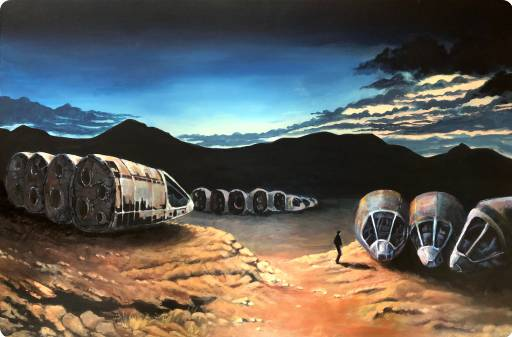 Painted scene from the book 'A Maze of Death' by Philip K. Dick, the scene is when Seth Morely looks for a Noser craft