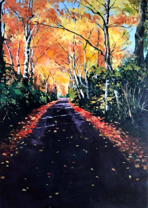 Painting in Acrylics of a country roadway through an arched set of Autumnal trees