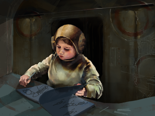 Digital painting. Depicts a small child with a colouring book at a desk on a space craft