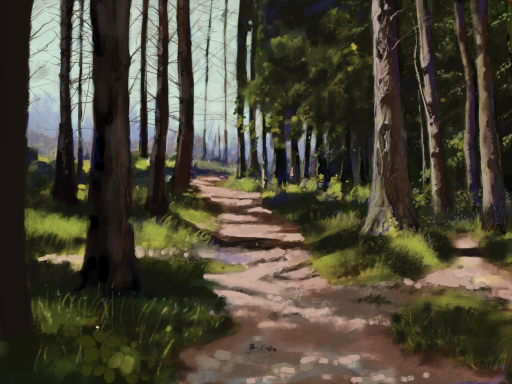 Digital painting of a pathway through a forest in County Down, Ireland
