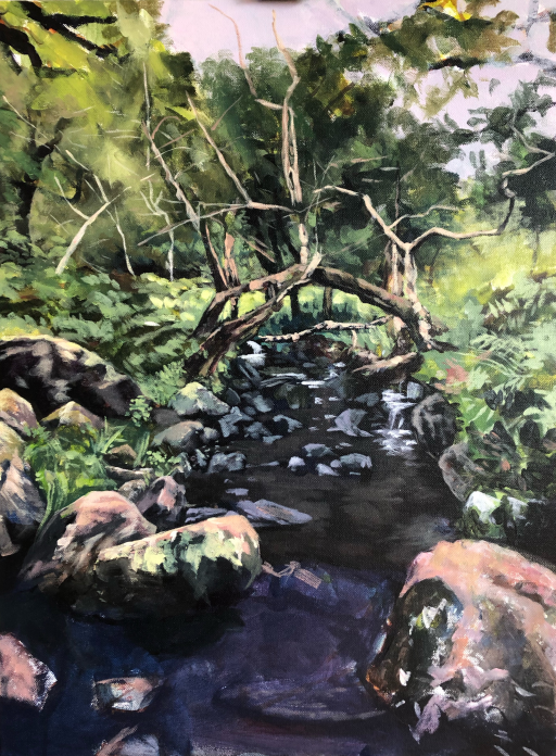 Work in progress images, 1 of 4 on page showing progress of painting of a river flowing through a forest in Kerry Ireland