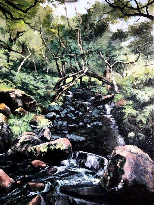 Latest progress on painting of a river flowing through a forest in Kerry Ireland