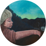 Painting that is titled Charlotte in the Night Garden, a young girl is show holding a dandelion in the fading light of day with mountains and a settlement in the background