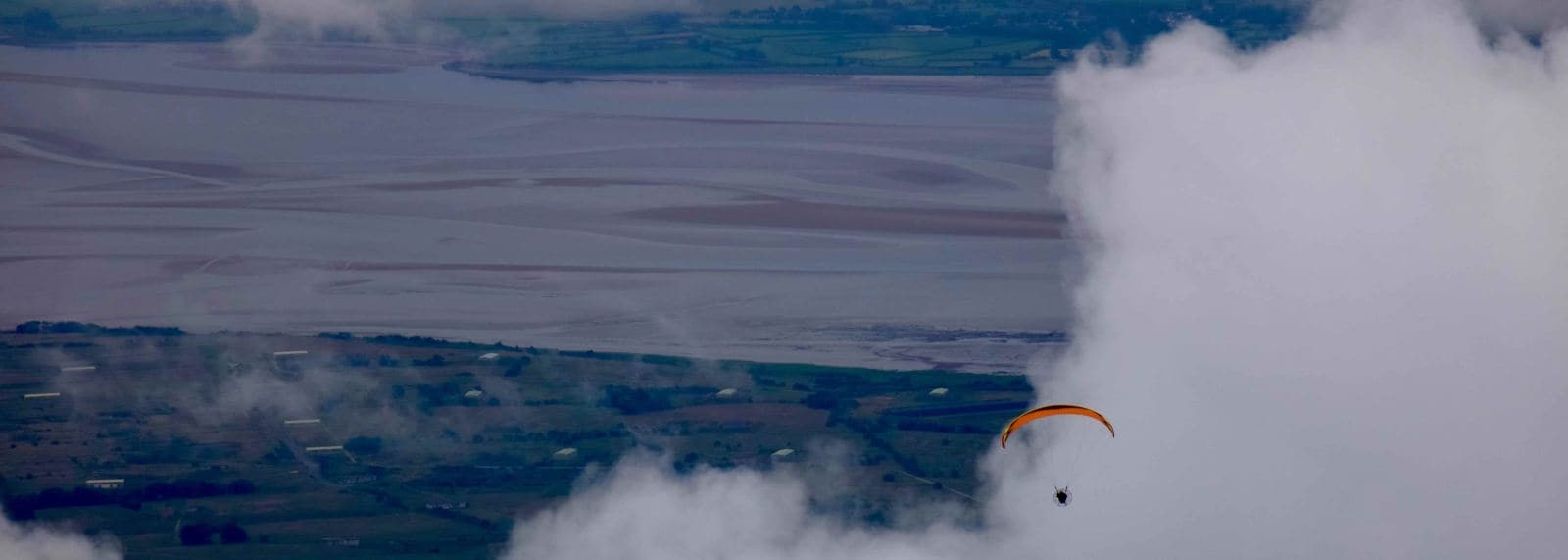 Paramotoring across the Solway Firth into England