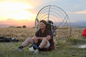Relaxing in the sunset after a great Paramotor flight in Italy