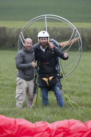 Happy student after First Solo Paramotor Flight with SkySchool UK