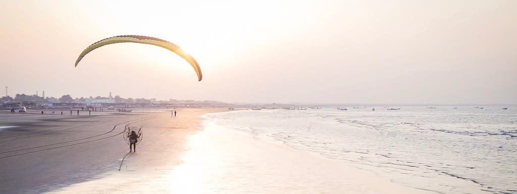 Paramotoring on the beach