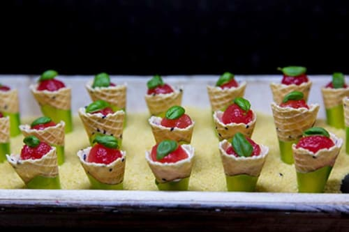 Cherry Chocolate Gel and Toasted Hazelnuts Canapés from TopHat