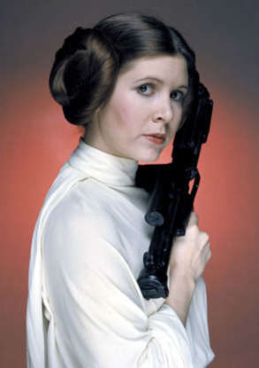 10. What does Princess Leia claim she is doing when she is caught by Darth Vader at the beginning of the film?