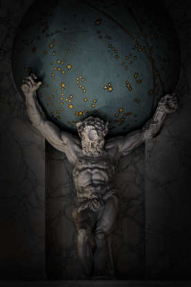 20. What is Atlas condemned to hold up?