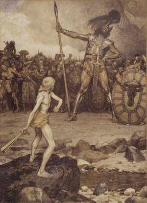 3. Who kills Goliath, and how?