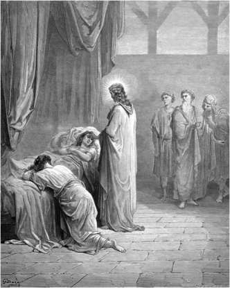 4. Jesus tended to a 12-year-old girl, the daughter of Jairus, who had succumbed to sickness. What did he do for her to make her better?