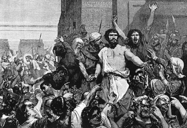 18. What was the name of the criminal that was set free as an act of Roman grace, so that Jesus could be crucified?