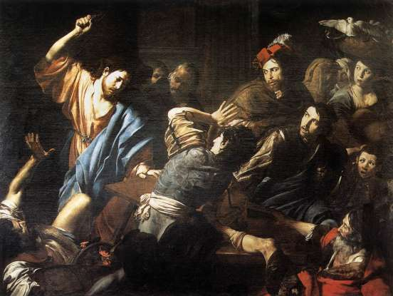 21. What did Jesus do to the money changers he found in the Temple?