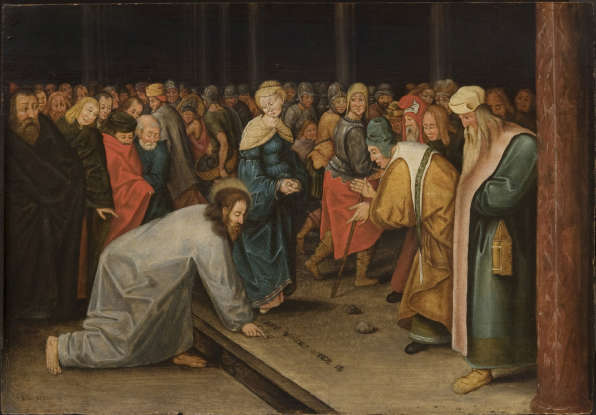 46. Follow-up: What did Jesus say to the crowd to get them to drop their stones?