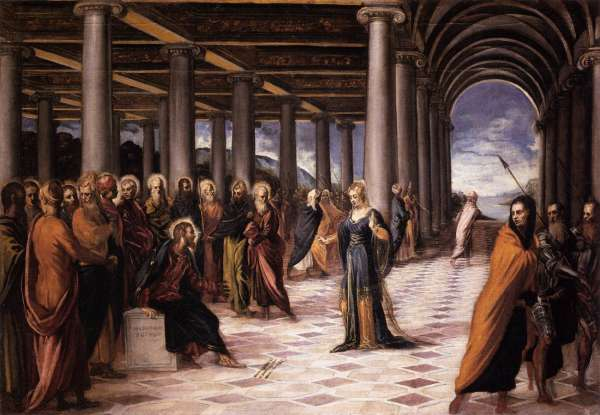 45. Jesus came upon a woman about to be publicly stoned for which crime?