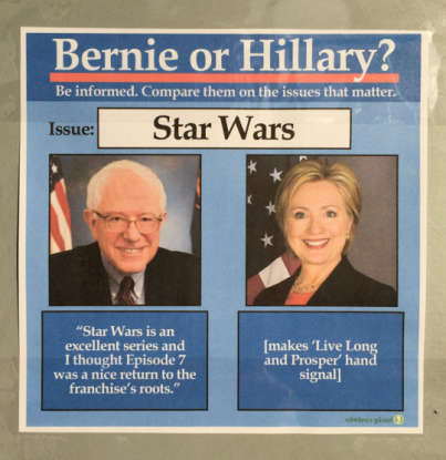 21. Bernie Sanders and Hillary Clinton were often featured in a meme known as Bernie or Hillary?, also called what?