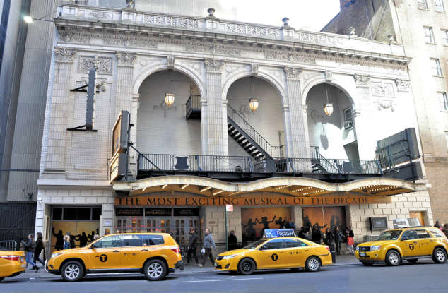 38. Where was the first Broadway production of <em>Hamilton</em> held?