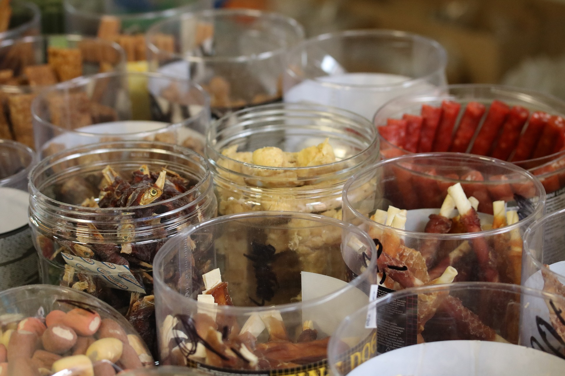 Variety of dog treats in containers