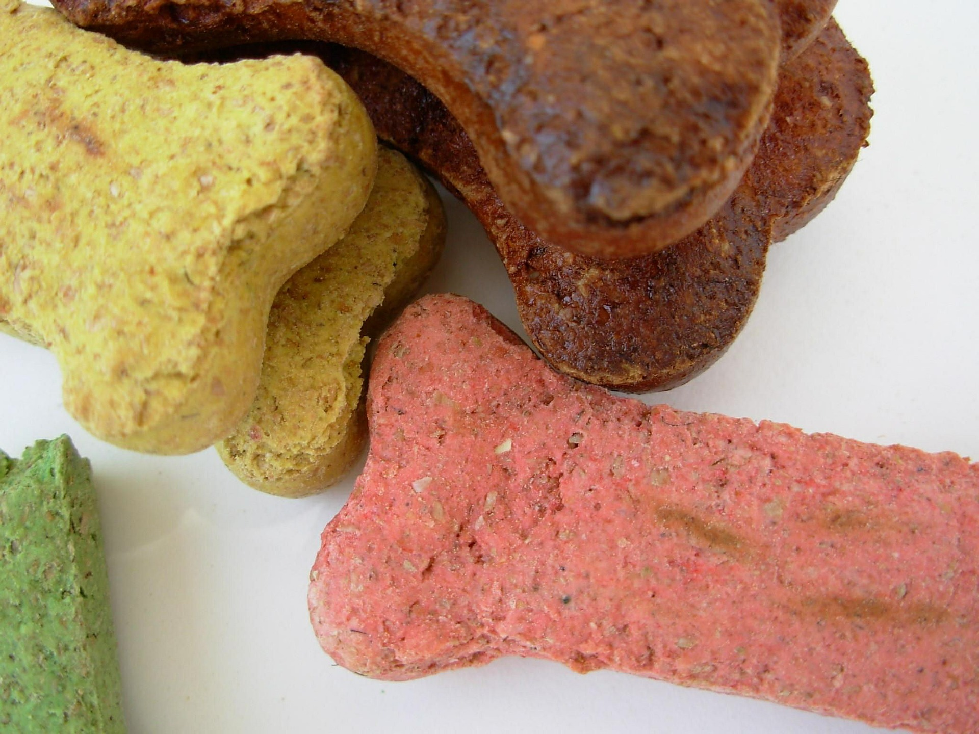 Close up shot of dog treats shaped like bones