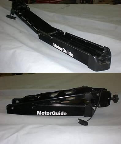 A trolling motor mount in both the stowed and deployed positions