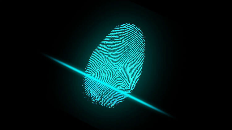 Blue glowing fingerprint being scanned against a black background